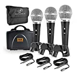 Pyle 3 Piece Professional Dynamic Microphone Kit Cardioid Unidirectional Vocal Handheld MIC with Hard Carry Case & Bag, Holder/Clip & 26ft...