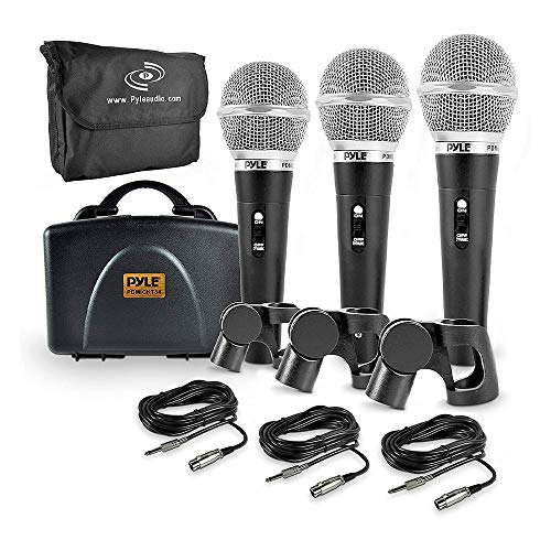 Pyle 3 Piece Professional Dynamic Microphone Kit Cardioid Unidirectional Vocal Handheld MIC with Hard Carry Case & Bag, Holder/Clip & 26ft XLR Audio Cable to 1/4 Audio Connection (PDMICKT34)