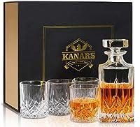 kanars bottiglie e bicchieri whisky, decanter da whiskey cristallo, 5 pezzi, 750ml bottiglia con 4x 300ml bicchieri, bellissimo regalo