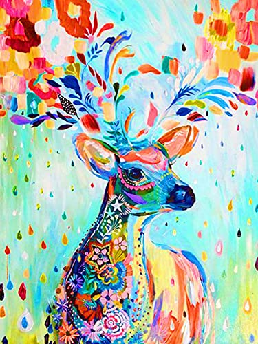 Paint by Numbers for Adults Animal, DIY Oil Painting Sika Deer Elk Flower Acrylic Paint by Number Kits for Kids Adults Beginner for Home Wall Decor 16x20 inch