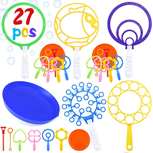 INNOCHEER Bubble Wands Set, 27 Pack Big Bubble Wands Toy Set Large Bubble Wand Bulk for Kids, Assortment of Bubble Wands for Summer Outdoor Activity Party Favors