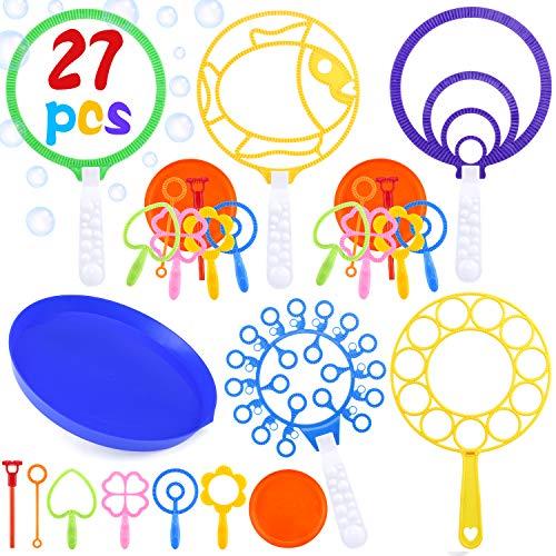 INNOCHEER Seifenblasen Set für Kinder, 27 Stück Große Seifenblasenstäbe - Seifenblasen Blase Zauberstab Einstellen Seifenblasen,Kinder Seifenblasen Set Multibubbler für Sommer Outdoor aktivitäten