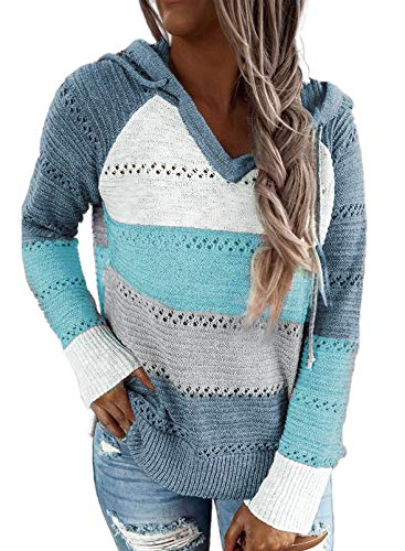 BLENCOT Sweatshirts Damen Pullover Strickjacken Farbblock Hoodie Stricken Langarm Sweatshirt V-Ausschnitt Warm Gestreift Kapuzenpullover Casual Oberteile Tunika Winter Herbst Sweater 2-Blau M
