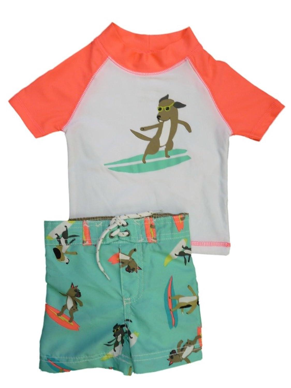 Carters乳児幼児用男の子サーフィン犬ラッシュガードTシャツSwim Trunks Set