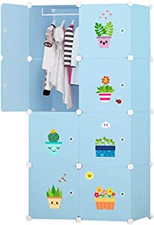 Garde-robe Simple Armoire Cartoon bébé Armoire Enfant Enfants en Plastique Tissu Armoire de Combinaison à Armature en Acie...