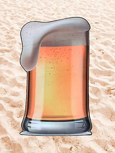 BE CRAZY THE BRAND Toalla de Playa Microfibra Cerveza - Diseño Innovador, Fresco, Tentador y Divertido.