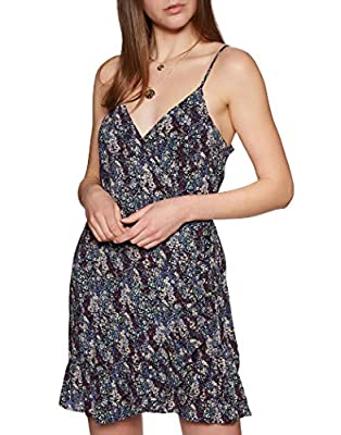Free People All My Love Printed Wrap Dress Black LG (Women's 12-14)