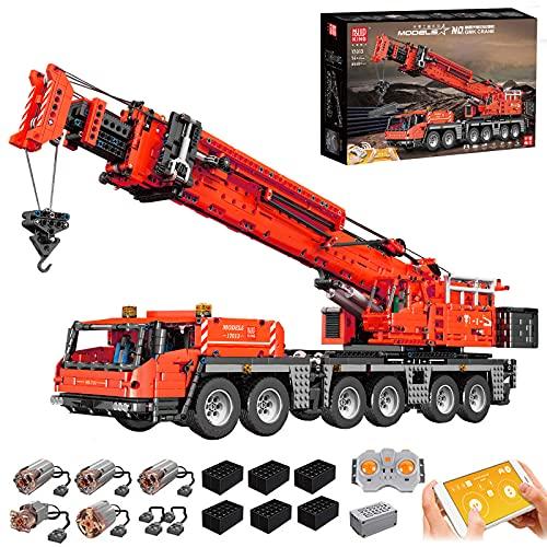 Mould King 17013 Technic LKW Kran Bausatz, 4460 Teile Große Ferngesteuert Technik Schwerlastkran mit 5 Motor und Fernbedienung Bauset Kompatibel mit Lego Technic(17013)