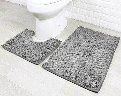 Ensemble de tapis de bain 2 pièces Ensemble de piédestal antidérapant Tapis de salle de bain, absorbant l
