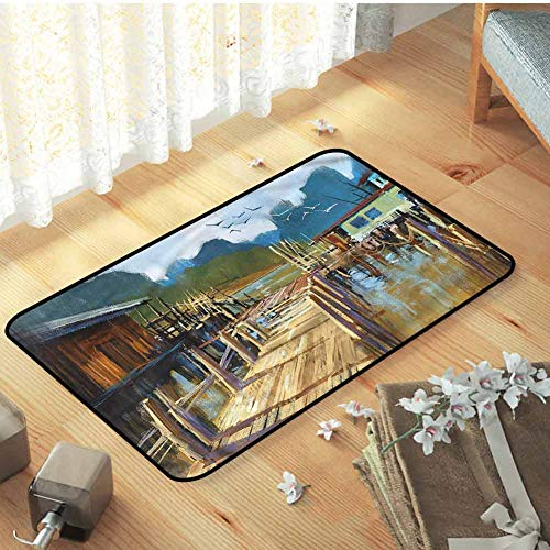 Indoor Outdoor Kitchen Rugs and Mats Kitchen Floor Mat Scenery Pier Oil Painting Style with Non Slip Backing, 23.5 x 15.5 inch