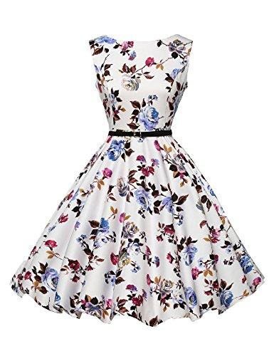 1950s Retro Vintage Rockabilly Kleid Cocktail Swing Party Kleider Sommerkleid M CL6086-22