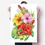 DIYthinker Bouquet de Fleurs Papillon Souhait Vinyle Autocollant de Mur Poster Mural Wallpaper Chambre Decal 80X55Cm 80cm x 55cm Multicolor