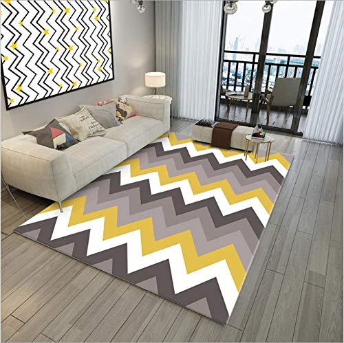 Alfombra moderna para sala de estar, suave al tacto, grande, alfombra de dormitorio, alfombra de moda, amarillo, beige, gris, marrón oscuro, patrón de ondas, 100 x 160 cm