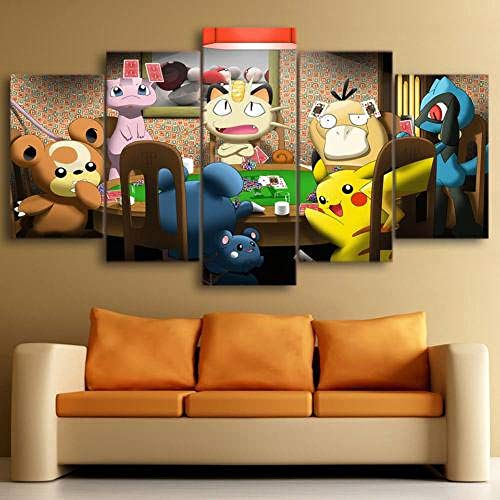 Arts - 5 Pieces Canvas Prints Wall Art Pokemon Playing Cards – Anime Print Painting Home Decor Wall Decor Modern Artwork For Living Room Framed And Ready To Hang 150 X 80 Cm