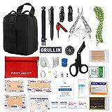 GRULLIN Kit di sopravvivenza per emergenza IFAK, kit di pronto soccorso per auto traumi da campeggio militare personale, borsa tattica MOLLE Rip Away per uomo donna bambino Wildness
