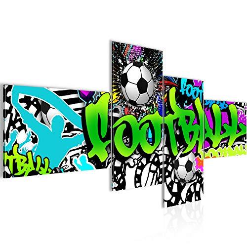 Quadro XXL Graffiti Calcio 200 x 100 cm Stampa D'Arte Murale Tela Non Tessuta Decorazione Soggiorno Camera Da Letto 402641a