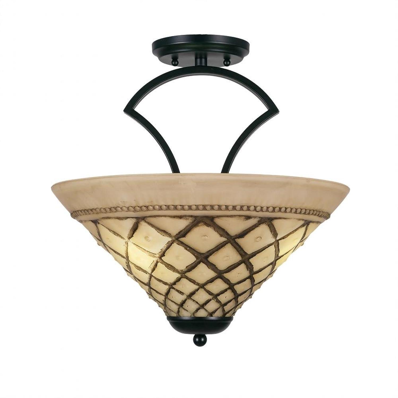 Toltec照明565-mb-718?Ziloセミフラッシュwith 3チョコレートアイシングガラスの電球、16インチ、マットブラック