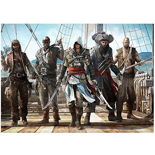 HYLLVC 1000 Rompecabezas para Adultos y niños Assassin'S Creed. Black Flag 1000 Comprimidos para Adultos Movie Role Juego Educativo Familiar de descompresión (52x38cm)