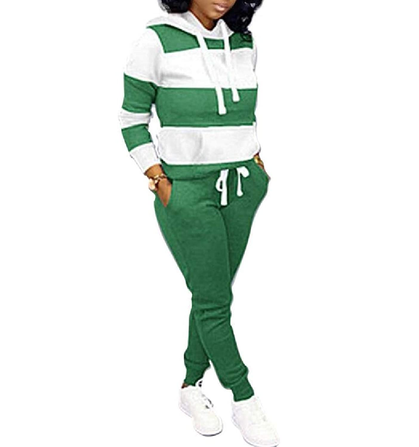ディプロマ太字エチケットVITryst Women's Stripes 2 Piece Set Hooded Athletic Drawstring Sport Tracksuit