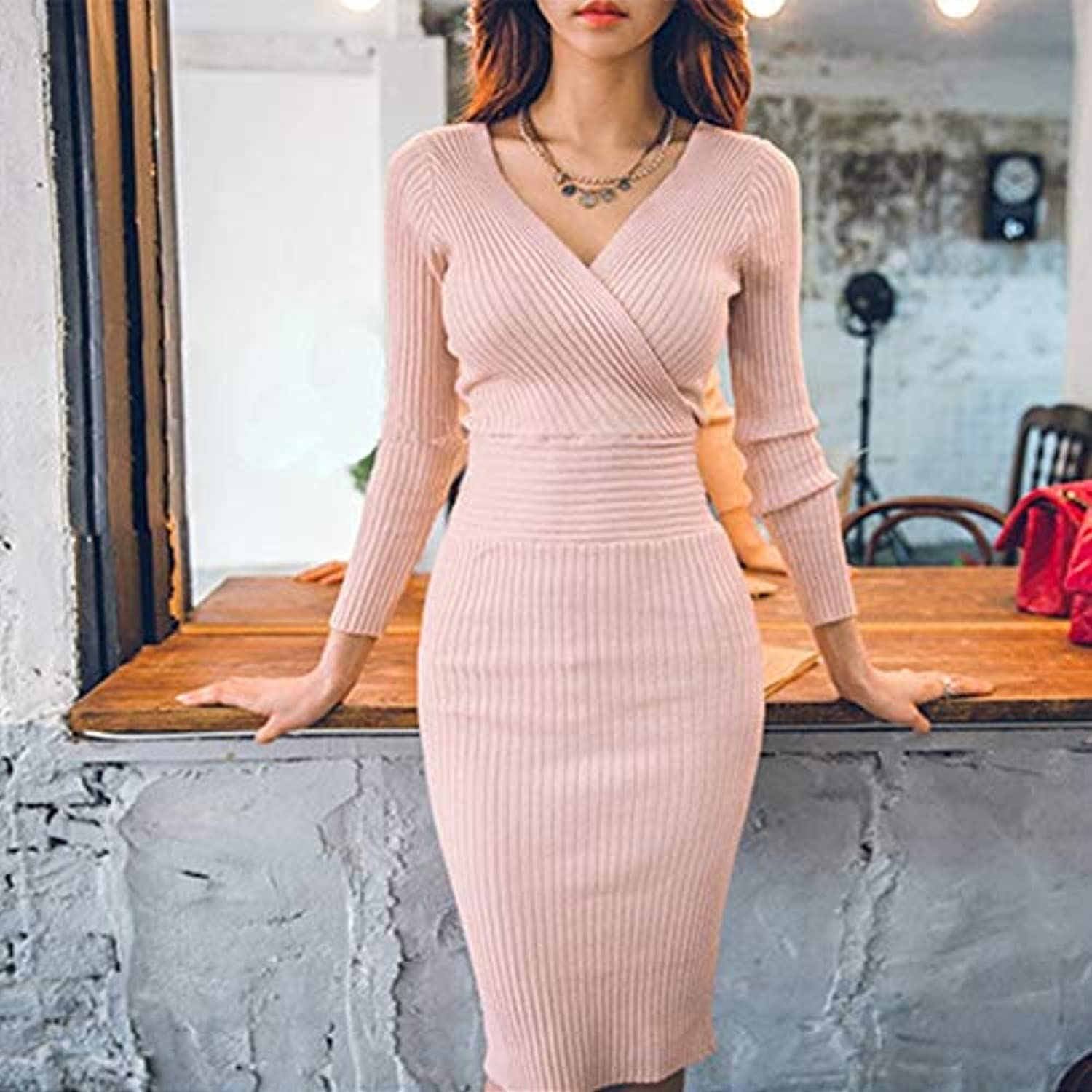 Cxlyq Dresses Fit 4570Kg Autumn Winter Women Knitted Cotton Skinny Sweater Dress VNeck Slim Dress Elegant Pink Party
