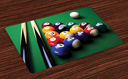 Manly Place Mats Billiard Pool Balls Arrangement Snooker Contest Beginning Entertainment Game Print Washable Fabric Placemats for Dining Room Kitchen Table Decoration Multicolor (23.6
