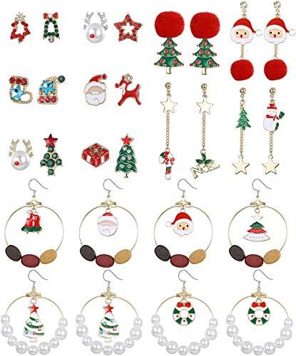 Adramata 14 pares de pendientes colgantes navideños para mujer Papá Noel muñeco de nieve ciervo campana árbol de Navidad conjunto de pendientes lindos pendientes de botón regalos de Navidad
