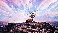 大人のための数字によるペイントキッズオイルペイントによる数字DIYキットキャンバス家の壁の装飾-鹿アートPhotoshop40×50cm(フレームレス)