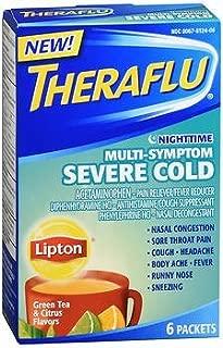 Theraflu Nighttime Multi-Symptom Severe Cold Packets Lipton Green Tea & Citrus Flavors - 6 ct