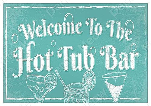 YGKDM Welcome To The Hot Tub Bar Poster Hot Tub Rules Vintage Tin Signs Pub Club Wall Ruler Decor Art Plaque Home Decor 7