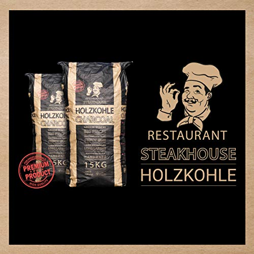 Energie Kienbacher 15kg Premium Holzkohle Restaurant Steakhouse Charcoal Qualität BBQ Grillkohle für Big Green Egg, Monolith, Kamado Joe, Primo