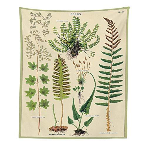 WERT Tapiz botánico de Flores Silvestres para Colgar en la Pared, Tabla de Referencia de Plantas de Flores, tapices Bohemios psicodélicos Hippie, decoración del hogar A3 200x150cm