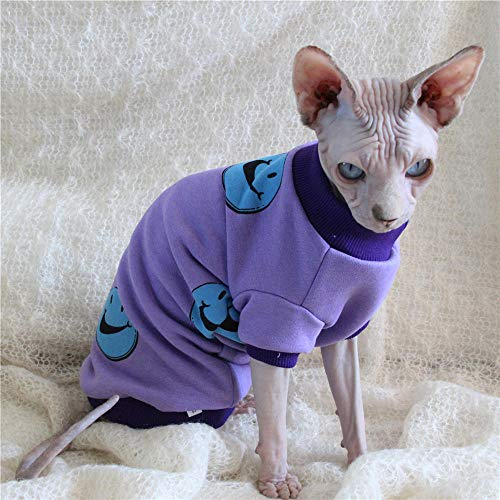 ZHIHAN Sphinx unbehaarte Katze Kleidung Prävention lila Lächeln Pullover, lila aus, L