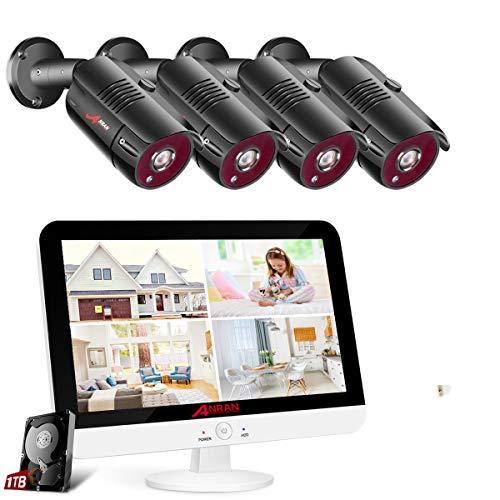 [Erweiterbar DVR Set] ANRAN 8CH 1080P Überwachungskamera Set 13 Zoll Monitor Videorekorder mit 4X 2MP Sicherheitskamera für Außen Innen Nachtsicht Bewergungsmelder Fernzugriff 1TB eingebaut Festplatte