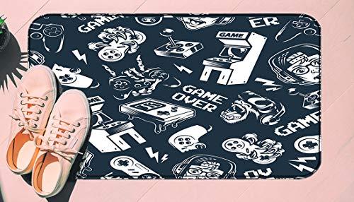 DIIRCYB Door Mat Indoor Outdoor Non-Slip Washable Doormat,Vintage Monochrome Video Game Seamless Pattern with Electronic Gaming,DIY Cropping Rug,for Home Kitchen Bedroom Bathroom Floor Carpet15.7 X 2