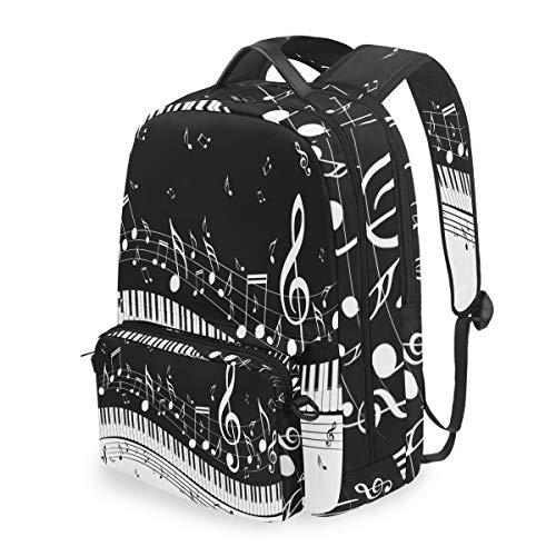 Lustiger Rucksack mit Musiknoten, Klavier-Schlüssel, abnehmbare Schultertasche für Schule, Computertasche, Umhängetasche, Daypack für Kinder, Jungen und Mädchen
