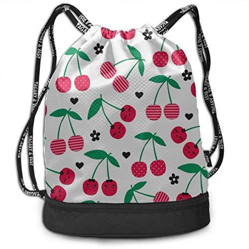 OKIJH Mochila Mochila de ocio Mochila con cordón Mochila multifuncional Bolsa de gimnasio Big Backpack Cherry Berry Red Fruit Cute Cartoon Gym Drawstring Bags Backpack Sports String Bundle Backpack Fo