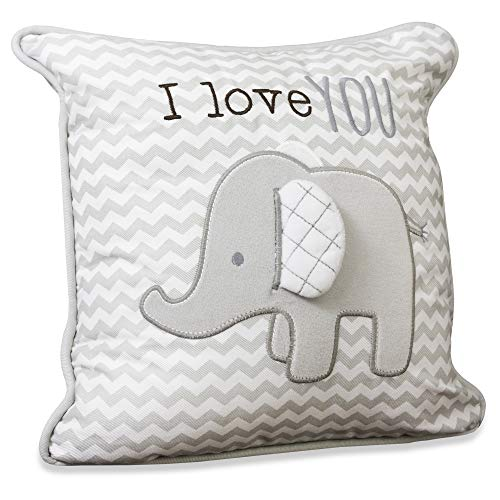 Wendy Bellissimo Super Soft Decorative Pillows + Square Throw Pillows for Baby Nursery Décor (11x11) - Elephant Grey and White