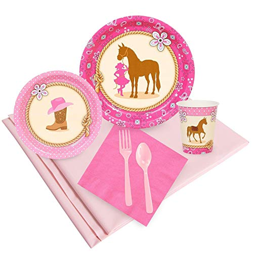 birthdayexpress kids costumes BirthdayExpress Western Cowgirl Pink Childrens Party Supplies Pack - 24 Guests