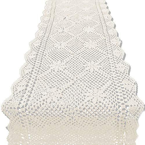 KEPSWET 14x48 inch Beige Cotton Crochet Lace Rectangular Table Runner Handmade Table Decoration
