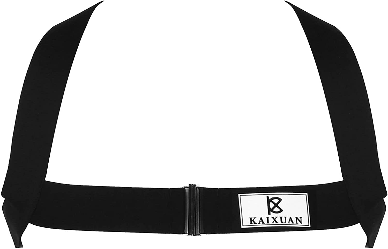 Hularka Men's Metal Ring Double Shoulder Strap Harness Belt Muscles Protector Club Wear Costume