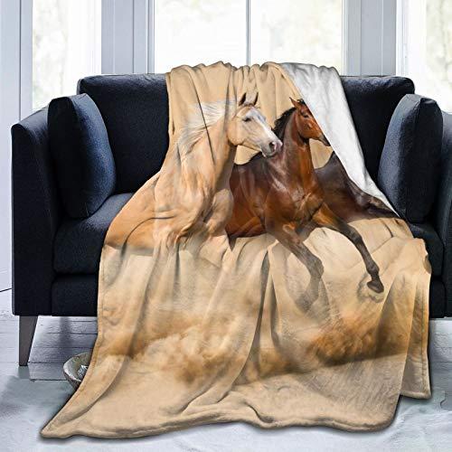 Alvaradod Manta de Tiro Personalizada,Tres Caballos en la tormenta de Arena del Desierto,Manta de Felpa Suave para sofá,Dormitorio,Viaje,Manta mullida 50