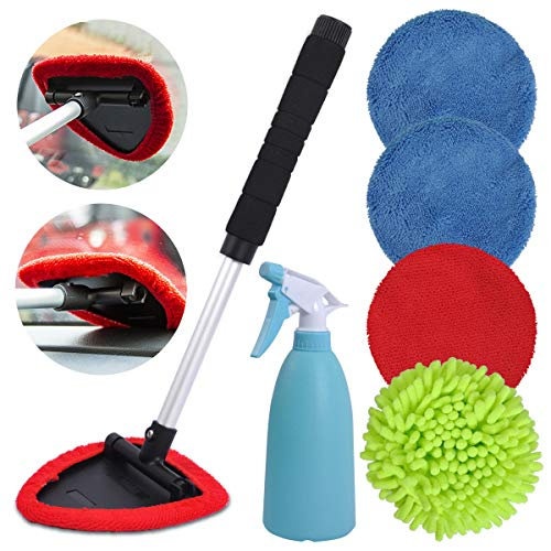 eFuncar Car Window Windshield Cleaner Wand, Auto Glass Cleaner Kit Interior Exterior with Extendable Handle, Car Inside Window Cleaning Tool, Microfiber/Coral Fleece/Chenille Bonnets/Spray Bottle
