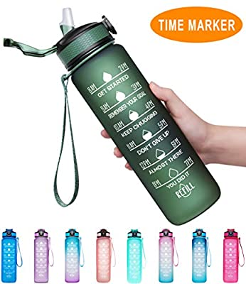 Giotto 32oz Large Leakproof BPA Free Drinking Water Bottle with Time Marker & Straw to Ensure You Drink Enough Water Throughout The Day for Fitness and Outdoor Enthusiasts-Hunter Green