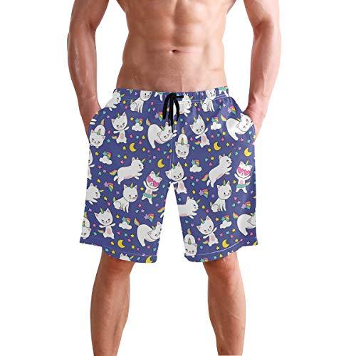 Los hombres de la Junta de Cortos Unicornio Gato Bañador Trunks Pantalones Cortos de Playa S 2030734 - - XX-Large