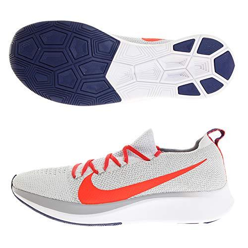 Nike Men's Zoom Fly Flyknit Pure Platinum/Bright Crimson Nylon Running Shoes 11 M US