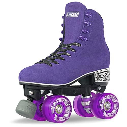 Crazy Skates Evoke Rollschuhe für Damen – Stilvolle Wildleder-Quad-Skates, violett, Size 9