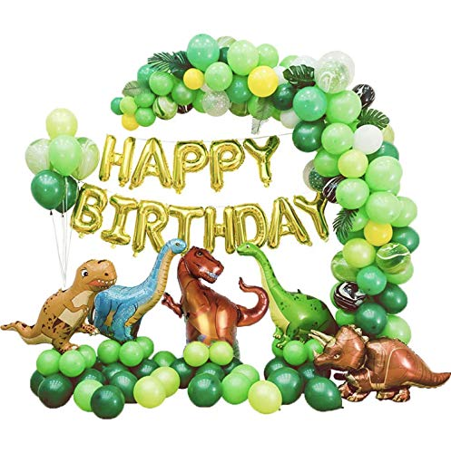 Dinosaur Balloons Garland Kit for Birthdays, Baby Showers, and More! Comes with T Rex, Velociraptor, Brontosaurus,