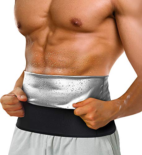 LODAY Waist Trimmer for Men Weight Loss,Stomach Trainer Sweat Workout Shaper,Neoprene-Free Slimming Sauna Belt (Black, L)