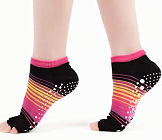 Calcetines de yoga Rainbow Style Toe Lady Pilates Autumn Cotton Leaking se refiere Cinco Dedos (Color : Red)