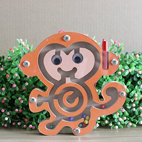 HappyToy Tier Mini Wooden Runde Magnetische Wand Nummer Maze Interaktive Labyrinth Magnet Perlen Labyrinth auf Brettspiel Stadt Verkehr Eduactional Handcraft Toys (AFFE)